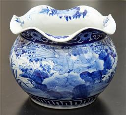 Sale 9108H - Lot 6 - A Chinese blue and white frill neck jardiniere with flowers in a landscape decoration Height 15cm