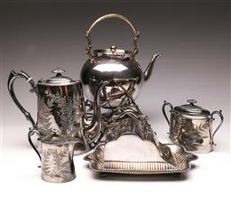 Sale 9107 - Lot 65 - A Collection of Silver Plated Wares inc Kettle on Stand, Butter Dish and Others