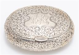 Sale 9180E - Lot 40 - An Edwardian hallmarked sterling silver oval snuff box with floral decoration and monogram to top, Birmingham, c. 1910 by Smith & Ba...