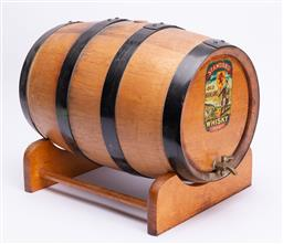 Sale 9185E - Lot 48 - A timber decorative barrel labelled Whisky, on stand, Length 40cm