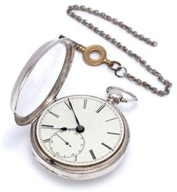 Sale 9194 - Lot 367 - A HALLMARKED STERLING SILVER FUSEE POCKET WATCH; white enamel dial, Roman numerals, blued hands, subsidiary seconds, swing out movem...