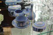 Sale 8098 - Lot 52 - Wedgwood Jasper Ware Dressing Table Items with a Tea Cup & Saucer