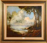 Sale 8171A - Lot 10 - Carl Stringfellow (1954-) - Fishing by the Sydney Harbour 40x45 cm