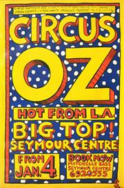 Sale 8256S - Lot 8 - Martin Sharp (1942 - 2013) - Circus Oz, Seymour Centre Hot from LA 134 x 89cm
