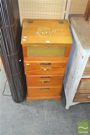 Sale 8272 - Lot 1079 - Pine Lift Top Bread Bin & Veggie Cabinet