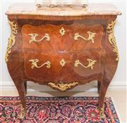 Sale 8341A - Lot 58 - A good Louis XV style bombe commode with marble top, H 86 x W 82 x D 42cm