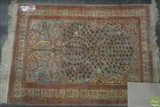 Sale 8345 - Lot 1016 - Small Turkish Silk Kayseri carpet, the Mihrab with tree of life pattern in turquoise, red & cream tones (114 x 80cm) - with certificate