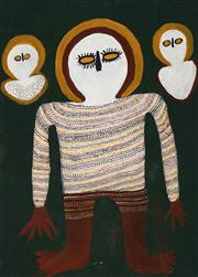 Sale 8696 - Lot 569 - Artist Unknown - Three Wandjina 94.5 x 68.5cm (framed and ready to hang)