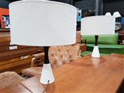 Sale 8908 - Lot 1037 - Pair of Teak and Porcelain Table Lamps