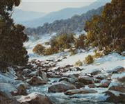 Sale 8907 - Lot 583 - Kevin Best (1932 - 2012) - Snowy River near Guthega 24 x 29 cm