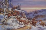 Sale 9078A - Lot 5165 - D'Arcy Doyle (1932 - 2001) - Snowy River Chase 64 x 87 cm (sheet)