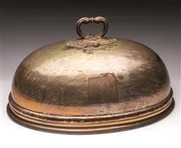 Sale 9110 - Lot 309 - Large silverplated meat dome, monogramed to front (L 51cm) together with silverplated candelabra