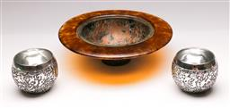 Sale 9131 - Lot 100 - Pair of Don Shiel tealight holders (Dia 8cm H 7.5cm) together with A signed art glass bowl with copper interior (Dia 25cm)