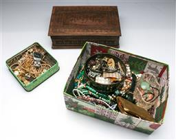 Sale 9156 - Lot 283 - Collection of costume and other jewellery inc watches and a carved box
