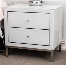 Sale 9160H - Lot 243 - A pair of two drawer white glazed bedside tables raised on chrome feet, Height 60cm x Width 60cm x Depth 42cm