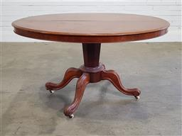 Sale 9218 - Lot 1083 - Victorian Mahogany Oval Loo Table, raised on an inverted hexagonal pedestal, with four outswept legs (h73 x w128 x d76cm)