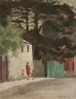 Sale 9214 - Lot 502 - COLIN COLAHAN (1897 - 1987) Walking Through Town oil on canvas on board 44.5 x 34.5 cm (frame: 55 x 45 x 3 cm) signed lower right