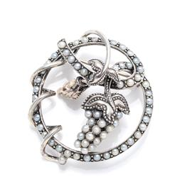 Sale 9246J - Lot 356 - A NOUVEAU INSPIRED SILVER PEARL GRAPE BROOCH; circle brooch with entwined tendrils and 2 central bunches of grapes set throughout wi...