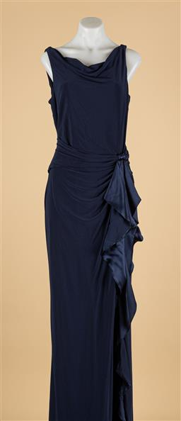 Sale 9260H - Lot 327 - A Ralph Lauren evening gown in navy blue with cowl neck & tie to front, (New) size 12.