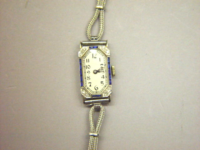 Sale 3545 - Lot 120 - A LADIES 18CT WHITE GOLD ART DECO WRIST WATCH;