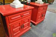Sale 8251 - Lot 1054 - Pair of Red Painted Bedside Cabinets