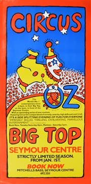 Sale 8256S - Lot 9 - Martin Sharp (1942 - 2013) - Circus Oz, Big Top, Seymour Centre 134.5 x 67cm