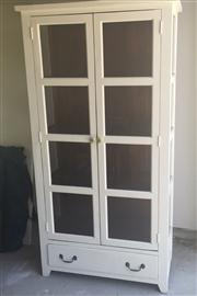 Sale 8298 - Lot 80 - White Painted Kitchen cabinet with glass panels, 183 x 96 x 42cm