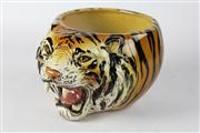 Sale 8445A - Lot 29 - Italian Ceramic Hand Painted Jardinere in Tiger Head Form - height - 18.5cm