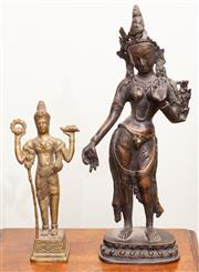 Sale 8653A - Lot 79 - A bronze Thai figurine of a typical dancer, H 34cm, together with a smaller gilded example