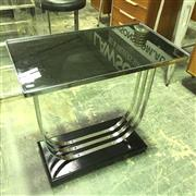 Sale 8643 - Lot 1070 - Art Deco Side Table with Black Glass Top on Chrome Base
