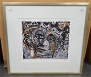 Sale 9065 - Lot 2086 - Douglas Little The Crown Prince, linocut and mixed media, ed. 1/10, frame: 48 x 52 cm, signed lower right -