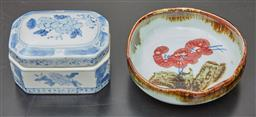 Sale 9108H - Lot 7 - An oriental dish depicting flowering branch decoration Diameter14cm, together with an octagonal blue and white trinket dish.