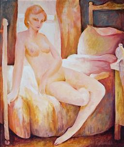 Sale 9170A - Lot 5040 - BILL COLEMAN (1922 - 1993) Nude by the Window oil on board 60 x 49 cm (frame: 80 x 69 x 4 cm) signed lower right