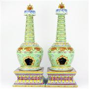 Sale 8244 - Lot 13 - Chien Lung Marked Pair of Buddha Stupas