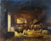 Sale 8362A - Lot 66 - Clement Quinton, Paris, 1851 - 1920 - Sheep in a Barn 55 x 66 cm