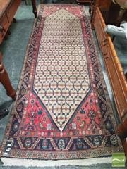 Sale 8416 - Lot 1049 - Persian Hamadan Wool Runner, the white field with floral lattice & having blue border (330 x 107cm)