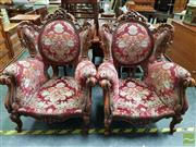 Sale 8465 - Lot 1054 - Pair of Heavily Carved French Style Armchairs