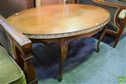 Sale 8550 - Lot 1525 - Timber Inlaid Coffee Table on Carved Cabriole Legs