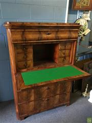 Sale 8649R - Lot 122 - Antique C19th Walnut Bureau with Fitted Interior and Felt Insert (H: 135 W: 100 D: 50cm)