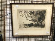 Sale 8903 - Lot 2032 - Squire Morgan Treesdrypoint etching ed. second slate , 33 x 40cm (frame), signed