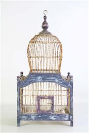 Sale 8923B - Lot 18 - A timber and metal birdcage, Height 53cm