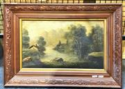 Sale 8941 - Lot 2055 - Artist Unknown (late C19th) Cottage, Lake and Mountain Sceneoil on canvas, 39 x 55cm (frame) -