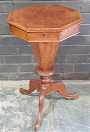 Sale 8976 - Lot 1086 - Victorian Figured Walnut Octagonal Sewing Table, the hinged top revealing a segmented interior, on tapering pedestal &outswept feet