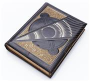Sale 9080W - Lot 54 - A Victorian black leather, gilt and silver embossed photo album with striking design. 30 x 23cm