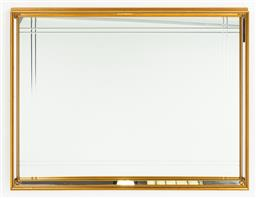 Sale 9099 - Lot 13 - A pair of gilt framed hall mirror with bevelled tram lines, 90cm x 120cm