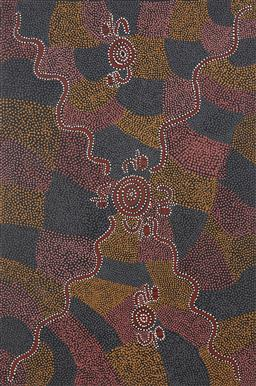 Sale 9188A - Lot 5075 - LYNETTE CORBY NUNGURRAYI (1956 - ) - Bush Tucker 91 x 61 cm (stretched and ready to hang)