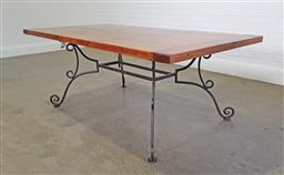 Sale 9255 - Lot 1294 - Timber top dining table on scrolled wrought iron base (h:77 x w:194 x d:101cm)