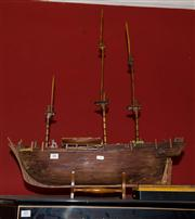 Sale 7962B - Lot 88 - Model timber model of a Three Masted Ship