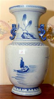 Sale 7997 - Lot 3 - LARGE BLUE & WHITE VASE WITH EARS, POSSIBLY EARLY QING