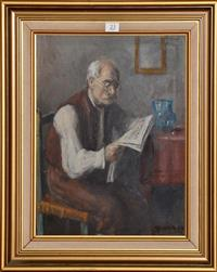 Sale 8171A - Lot 23 - George Andor Horvath (Hungarian 1876-1933) - Morning Newspaper 39x30 cm